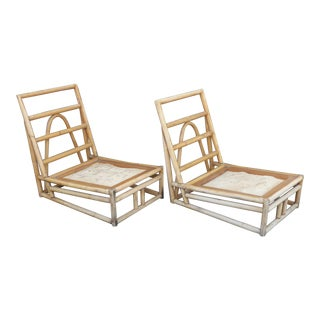 Vintage Beverly Hills Tiki Palm Beach Rattan Accent Chairs - A Pair