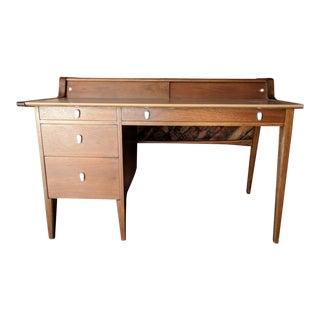 Mid Century Refinished Walnut Drexel Profile Leather Top Executive Desk