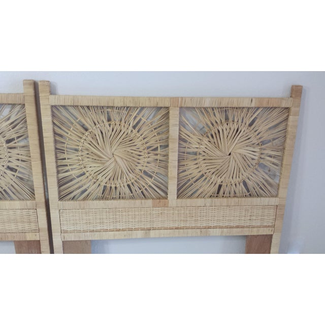 Woven Rattan Twin Headboards - A Pair - Image 6 of 9