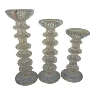 Timo Sarpaneva 3 Glass Candle Stick Holder Set