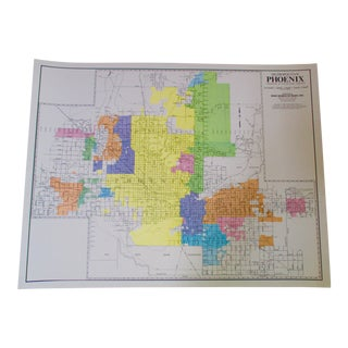 Phoenix, Arizona Wall Map 1980s Wall Decor