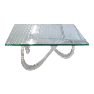 Modernist Glass Top & Lucite Base Coffee Table