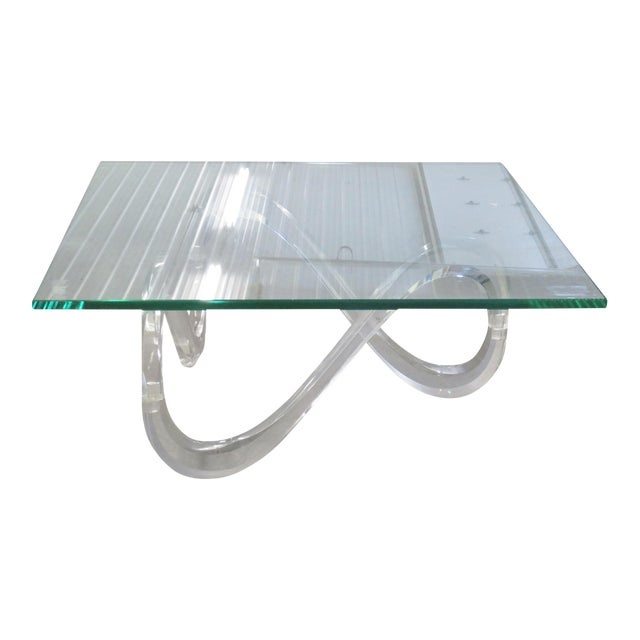 Image of Modernist Glass Top & Lucite Base Coffee Table