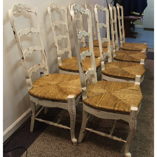 Country French Rush Seat Side Chairs - Set of 8 - Image 5 of 9