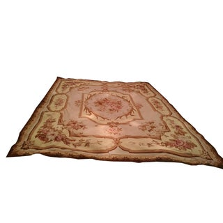 Floral Aubusson Wool Rug - 7′12″ × 9′10″
