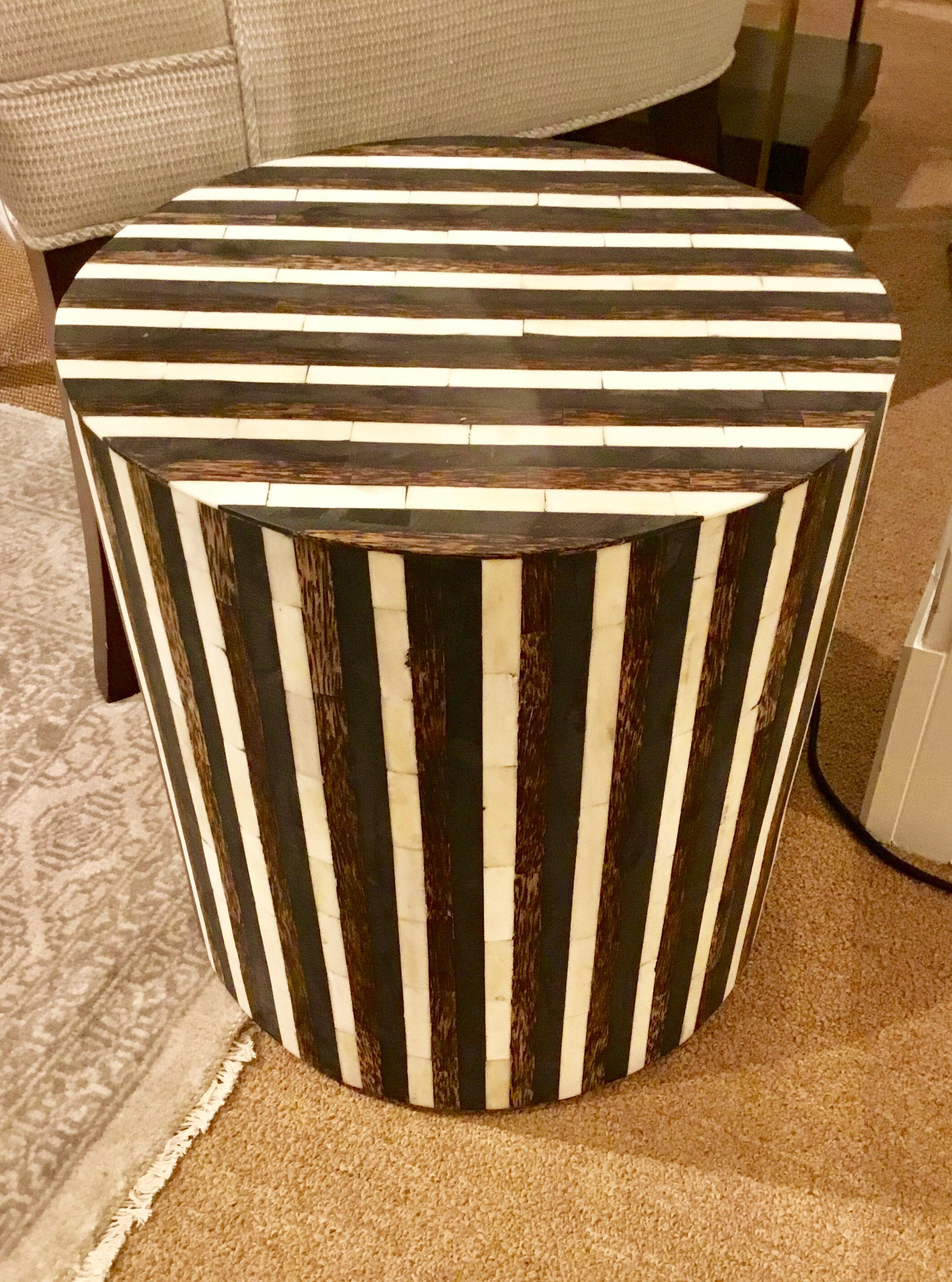 Modern DK Living Wood And Bone Accent Table   Image 5 Of 5