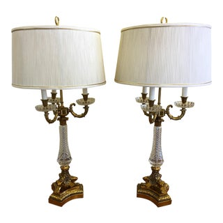 Hollywood Regency Paul Hansen Crystal Glass Bouillotte Lamps - a Pair