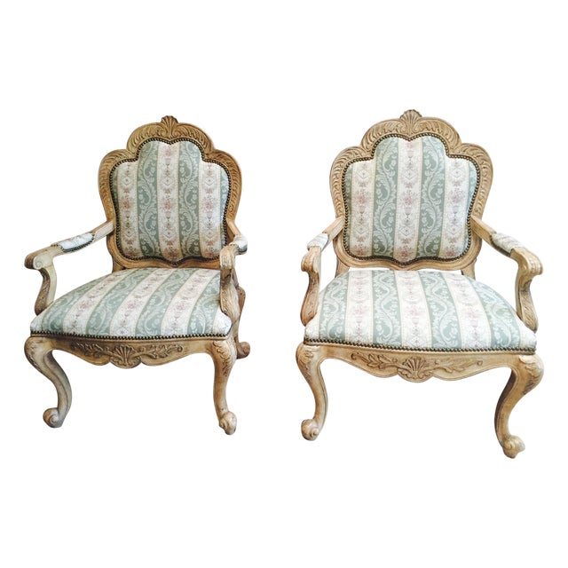Image of Traditional French Accent Chairs - A Pair