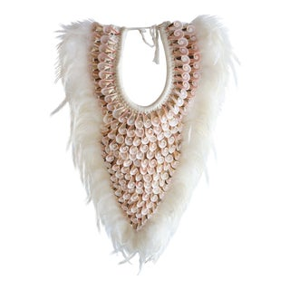 White Seashell Tribal Necklace On Stand