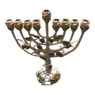 Judaica Elegant Rose Traditional Design Hand Painted Menorah