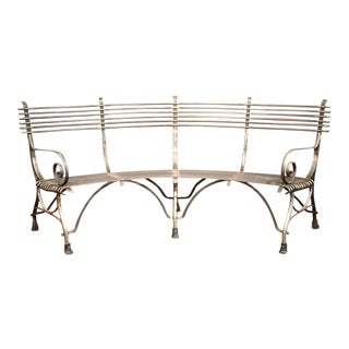 French Polished Iron Hoof Foot Curved Bench Signed Sauveur Arras