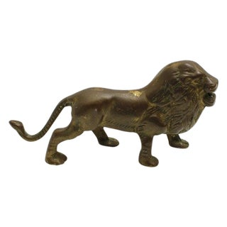 Vintage Solid Brass Lion Figurine