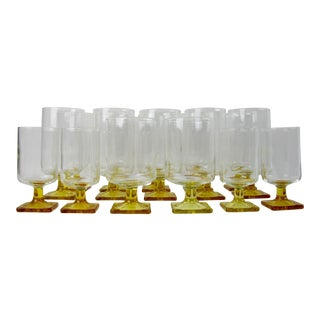 Mid-Century Danish Federal Nordic Amber Topaz Glassware - Set of 16