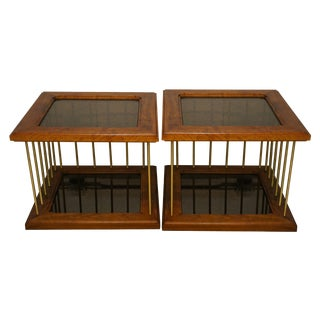 Wood Brass & Smoked Glass Side Tables - A Pair