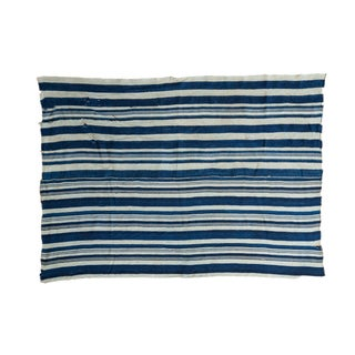 Vintage Hand Woven Indigo Stripe Throw