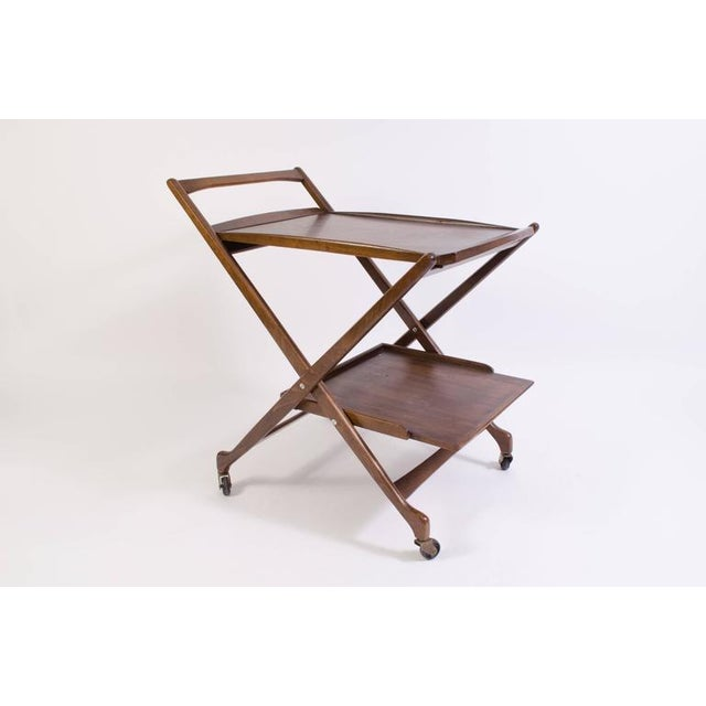 Danish Folding Walnut Bar Cart with Serving Tray - Image 2 of 10