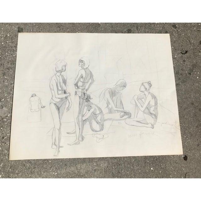 Original Midcentury California Bikini Sketch - Image 4 of 5