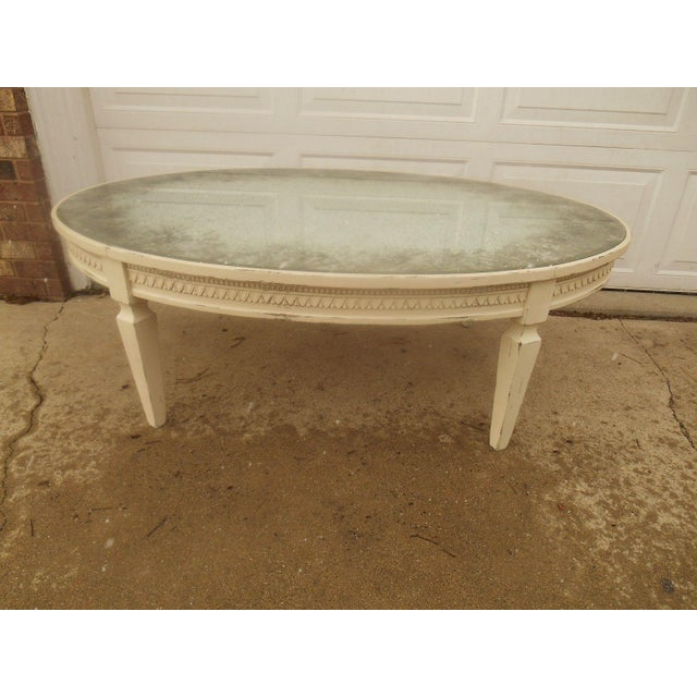 French Provincial Oval Coffee Table: Vintage French Country Distressed Oval Coffee Table