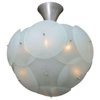 Enormous Italian Globular Glass Chandelier Attributed to Vistosi