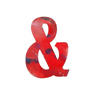 Large Red Metal Marquee Ampersand