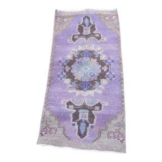 Vintage Turkish Purple Wool Pile Rug - 1′4″ × 3′2″