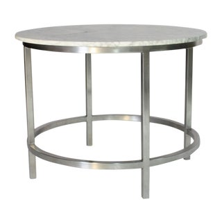 Brushed Metal and Marble Table