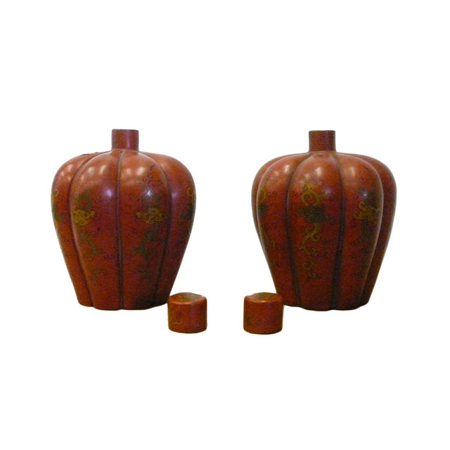Image of Chinese Red Orange Lacquer Lidded Containers -Pair