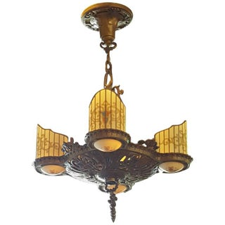 R. Williamson Art Deco Four Light Chandelier