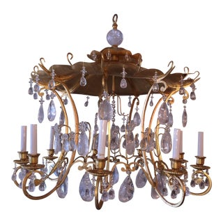 Mid-Century Gilt Pagoda Top Chandelier