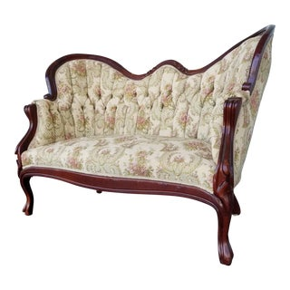 Vintage Victorian Carved Wood Floral Tufted Settee