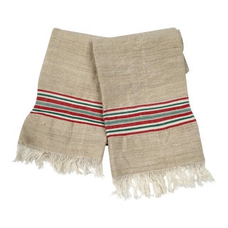 Homespun Flax Red & Green Striped Fringed Linen Towels- A Pair