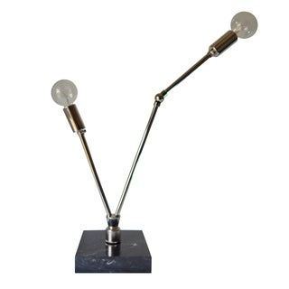 Nickel & Black Marble Table Lamp
