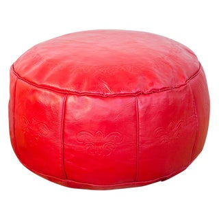 Antique Cherry Red Leather Moroccan Pouf Ottoman