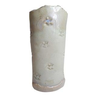 Cream Glazed Hand Built Studio Pottery Vase