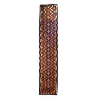 Early 20th Century Persian Varamin Kilim Carpet Runner - 2′10″ × 14′