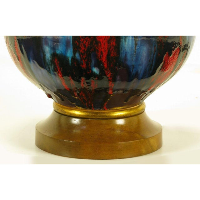 Large Blue, Black & Red Gourd Form Table Lamp - Image 7 of 8