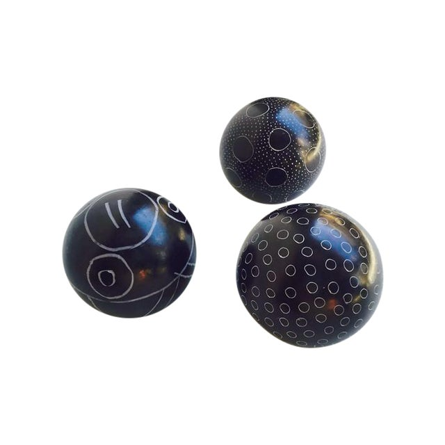 Image of Vintage Kenyan Soapstone Tribal Balls - Set of 3