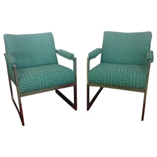 Milo Baughman Style Chrome Armchairs - A Pair