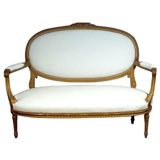 French Louis XI-Style Oval Settee