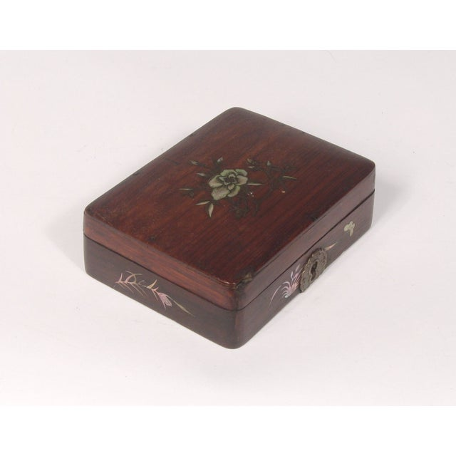 Small Chinese Rosewood Inlay Box - Image 2 of 3
