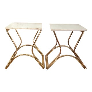 Vintage Brass & Marble End Tables - A Pair