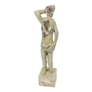 Ben Kupferman Resin Figure with Inset Stone & Sterling Silver