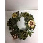 Image of Vintage Italian Tole Floral Centerpiece Wreath