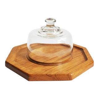 Vintage Glass Cloche on Teak Wood Base