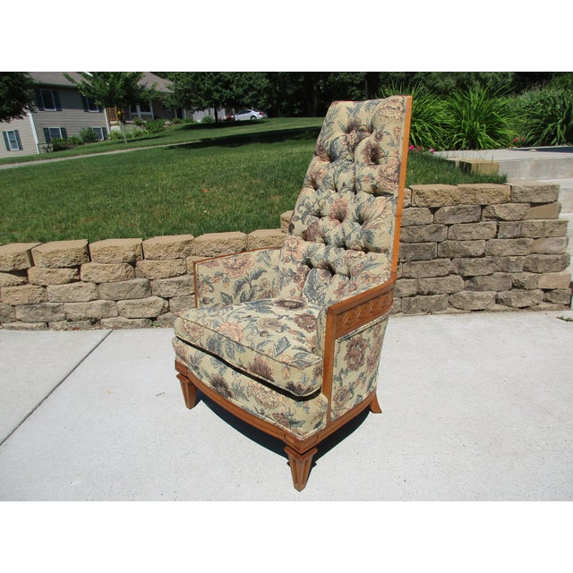 Tufted High Back Armchair With Beautiful Wood Detail - Image 3 of 11