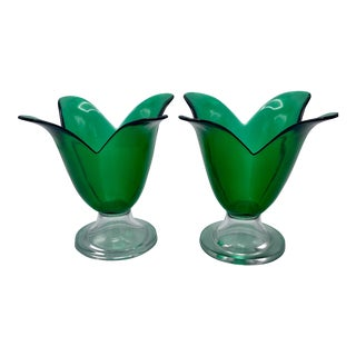 Mid-Century Hand Blow Emerald Green Petal Art Glass Pedestal Bowls - A Pair