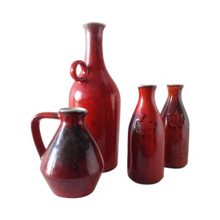 Terracotta Red Glazed Containers - Set of 4