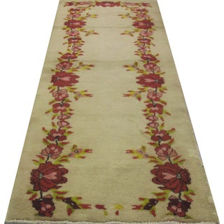 "Turkish Floral Oushak Rug - 2'11"" X 8'6"""