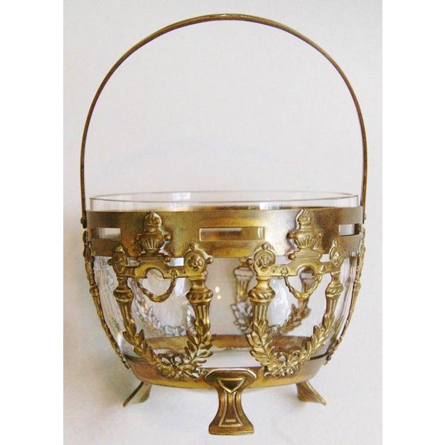 Antique Brass Filigree & Crystal Basket - Image 9 of 10