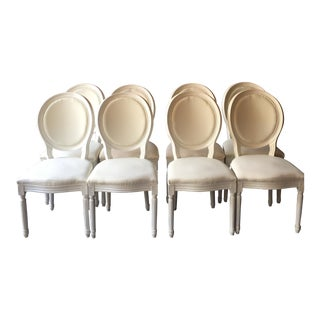 French Brasserie White Dining Chairs - Set of 8